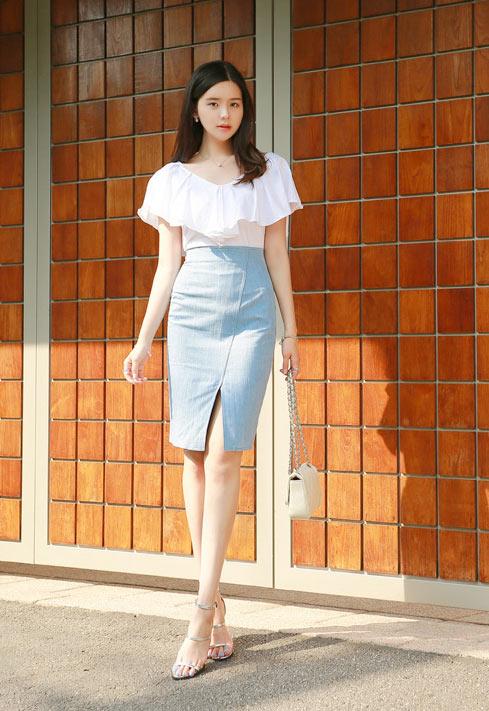 Chân váy denim Hàn Quốc đẹp xuân hè 2017