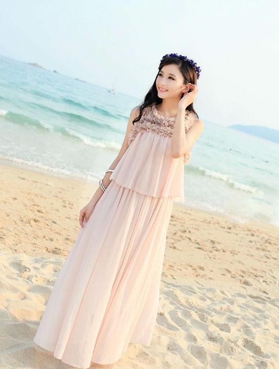 Váy maxi vải voan đẹp cho cô nàng điệu đà dạo biển đón nắng