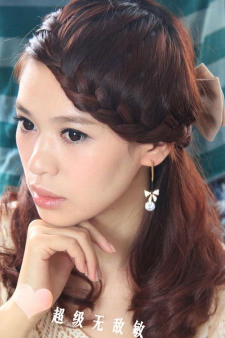 Tóc tết mái viền phong cách Hàn dễ thương
