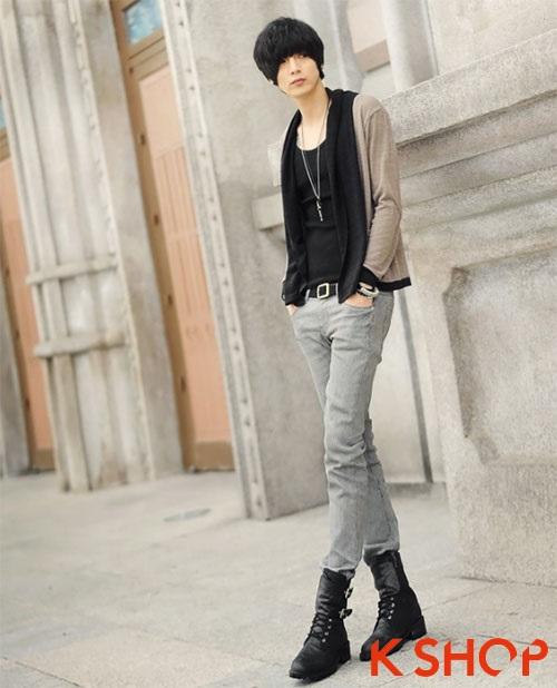 Mix áo khoác nam Hàn Quốc với áo len mỏng đẹp đang gây sốt giới trẻ