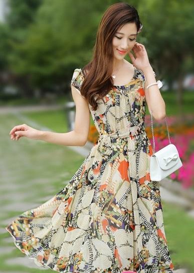 Váy đầm liền thân xòe công sở đẹp