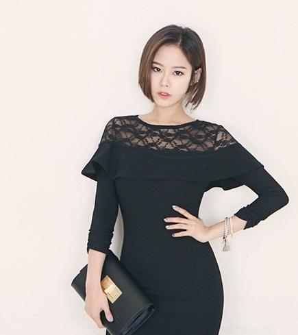 Váy liền thân màu đen đẹp sang trọng cho nàng công sở