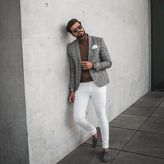 Bắt trend với quần jeans trắng giúp chàng xuống phố