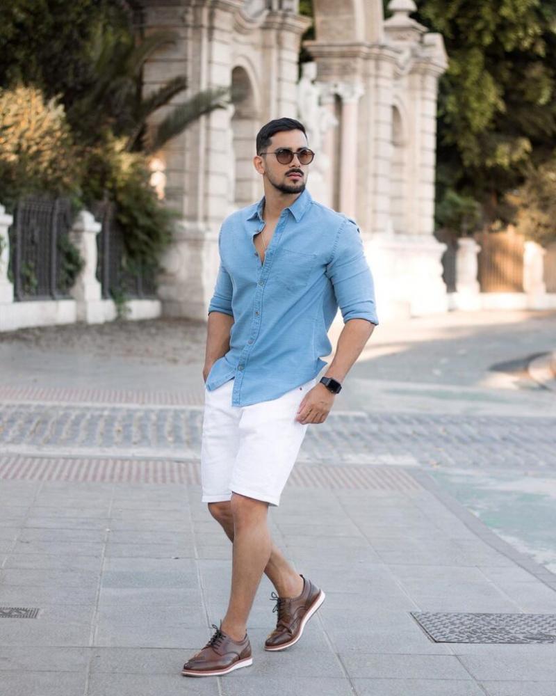 Cảm hứng phối áo sơ mi cùng quần short cho chàng xuống phố