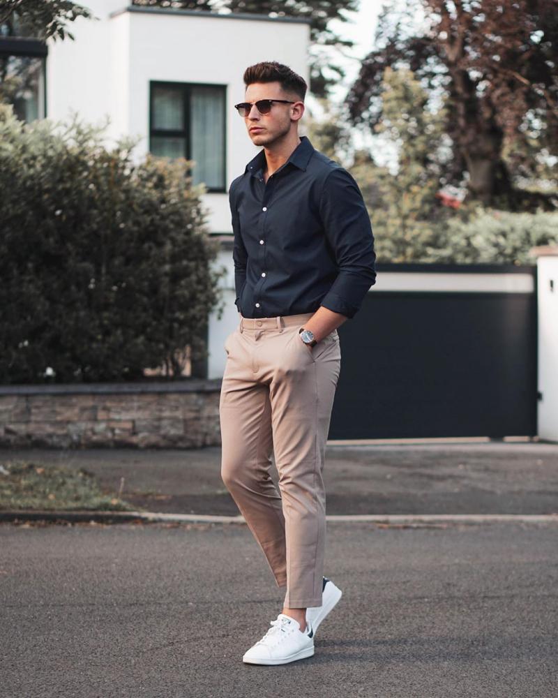 3 cách phối áo sơ mi xanh navy giúp chàng nổi bật hơn với street style