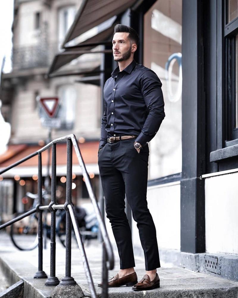 """7 cách phối áo sơ mi đen """"ngầu siêu ngầu"""" giúp chàng thêm cá tính"""