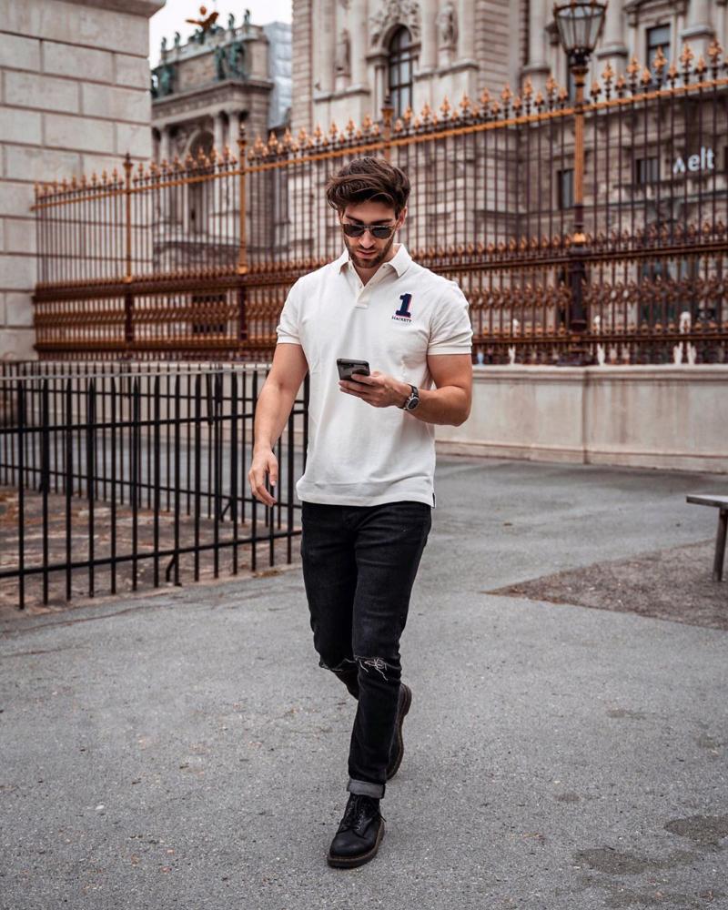 Cách phối đồ nam với áo thun polo giúp chàng xuống phố