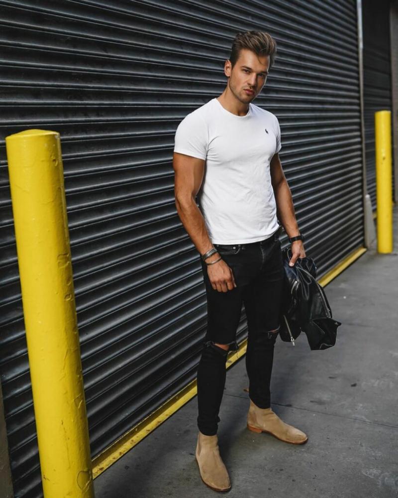 Cảm hứng phối giày chelsea boots da lộn cho chàng đầu tuần xuống phố