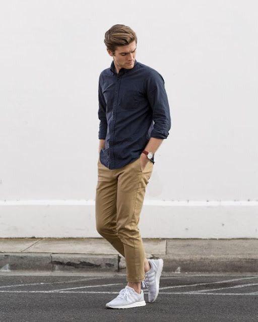 Cảm hứng phối áo sơ mi dài tay giúp chàng trở nên nam tính