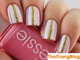 15 mẫu móng tay nail kẻ sọc đẹp cho nàng công sở