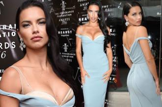 Adriana Lima mặc váy trễ vai khoe vòng một căng đầy